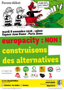 Non à Europacity, le 8 novembre proposons des alternatives !